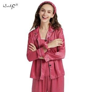Image 3 - Bayan ipek pijama seti 7 adet Set pijama kadın sonbahar kış ipek pijama pijama rahat rahat bayan ev giyim