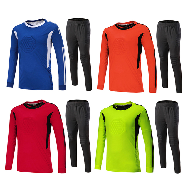 a1e94c52489 18 19 Adult Child Soccer Jersey Goalkeeper Sponge Protector Can  Personalized 2018 Goalkeeper Uniform Suit trousers