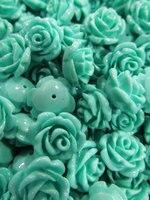 Yüksek kalite 16mm 100 adet -- reçine plastik gül florial petal oyma yeşil turkuaz assortmen craft charm takı yüzük ---- yarım d