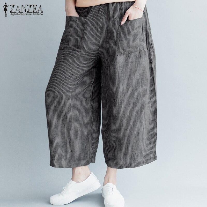 S-5XL ZANZEA Women Casual Stripe   Wide     Leg     Pants   Elastic Waist Pockets Loose Cotton Linen Trousers Vintage Work Harem Pantalon