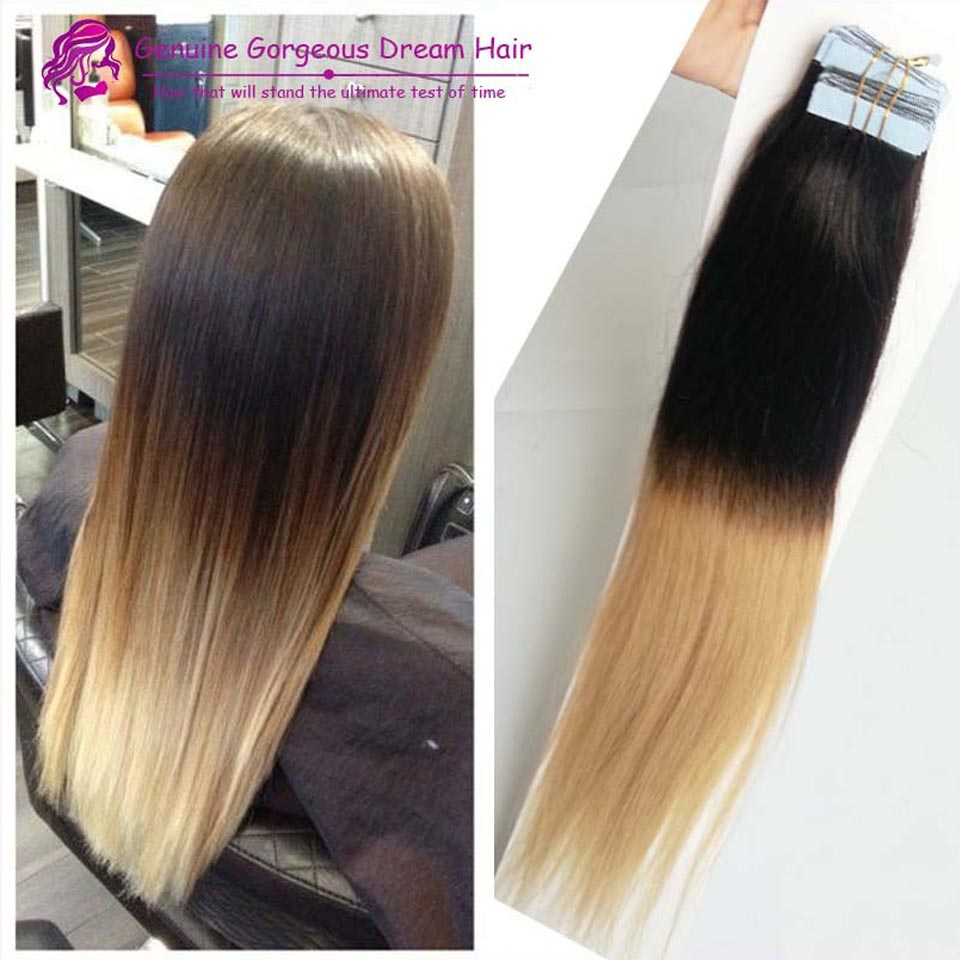 Remy Hair Ombre Skin Wefts Hair Extensions 20inch Tape Skin Weft