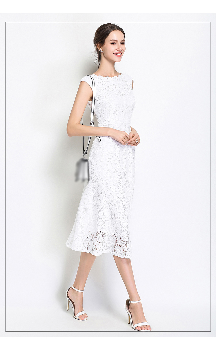 Elegant White Black Sleeveless A-line Knee Length Dress