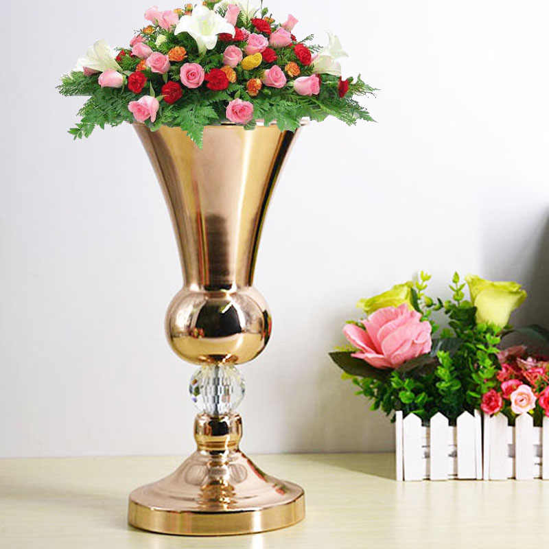 Floor Tabletop Flowers Vase Metal Wedding Flower Vase Stand Table Wedding Centerpieces Gold Vases For Party Home Decoration G202 Vases Aliexpress