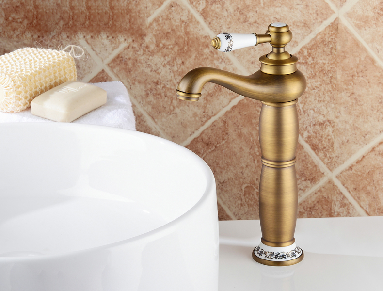 Bathroom Countertop Sink Faucet Single Handle Basin Mixer Tap Antique Brass antique brass bathroom sink basin faucet single handle mixer tap countertop vessel mixer tap