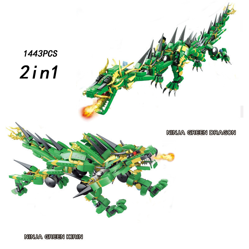 2017 Golden ninja movie Mechanical green dragon knight 2in1 kylin building block with light cole kai figure brick toy collection ninja attack of the morro dragon dark action figure model building block brick toy minifigure ninjagoed legoeddis