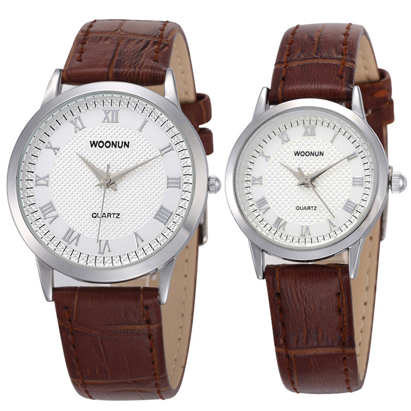 2017 WOONUN Luxury Brand Couple Watches Men Women Waterproof Quartz Watches Leather Strap Fashion Casual Lovers Watches