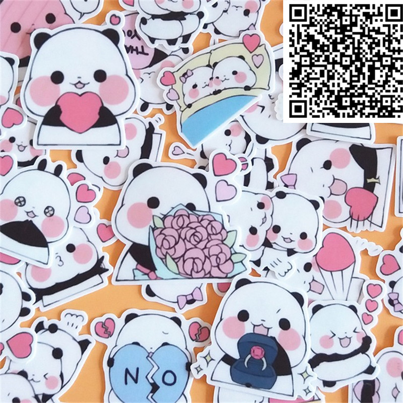 40 pcs Cute little panda cartoon Stickers for  phone Decorative waterproof sticker Scrapbooking For Laptop Children-in Stickers from Toys & Hobbies