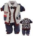Новый 2015 мальчиков мультфильм весна-осень кардиган футболка с галстуком одежда наборы 3 шт. baby boy одежда набор детей кардиган набор мальчик