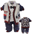 Novo 2015 meninos conjuntos de roupas de primavera-outono cardigan t-shirt com o laço dos desenhos animados 3 pcs roupas de bebê menino definir crianças conjunto cardigan menino