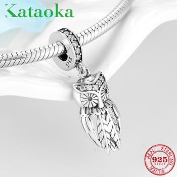 28cb829398d7 Venta caliente 925 de plata esterlina encantador búho claro CZ colgantes de  cuentas encaja Original Pandora