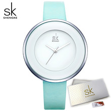 Shengke Relógios das Mulheres Marca De Luxo de Quartzo relógios de Pulso Senhora Mixmatch Vestido Grande Mostrador de Relógio De Couro Branco Relógio Feminino 2019