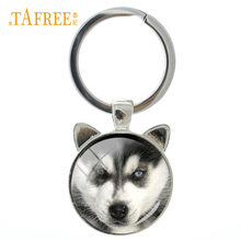 Midsize sled dog Siberian Husky keychain lovely Puppy glass photo metal key chain ring holder fashion Christmas gift CN775