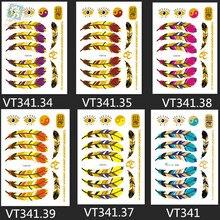 VT341/New 2015 fashion metallic temporary tribal gold flash feather tattoo designs