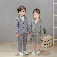 Boys Girls Formal Clothing Kids For Boy Clothes Plaid 2 pcs Suit Girls Toddler Suit Set Children's Clothing Boy Tracksuits