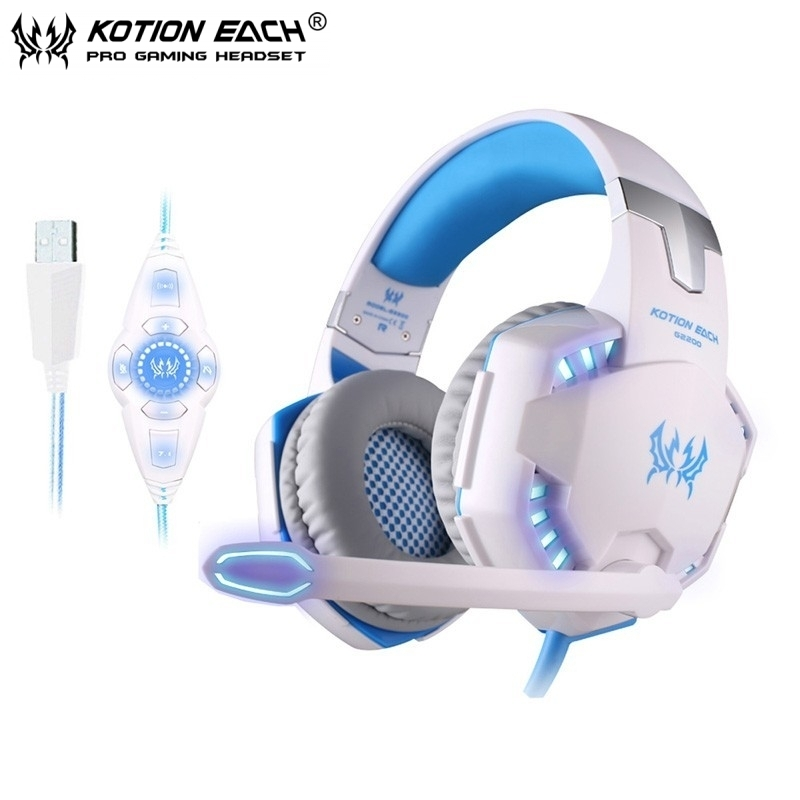 EACH G2200 Gaming Headphones Vibration USB 7.1 Surround Stereo Game Headset Computer Headband with Mic LED Light For PC Gamer