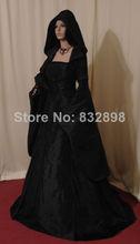 Black Satin Victorian Ball Gowns Medieval Renaissance Period Dress Handfasting Pagan 18th Century Dress