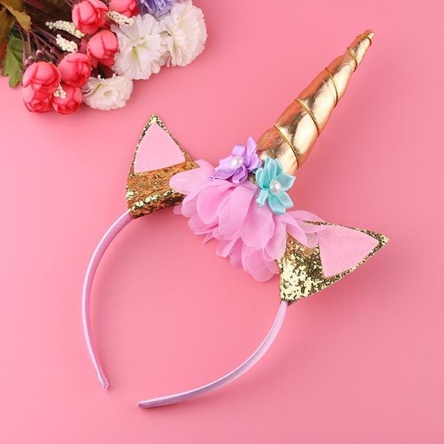 1pc Diy Kids Girl Unicorn Horn Headband Glitter Hairband Glittery