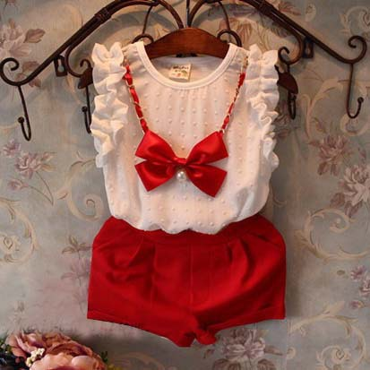 2016 summer girls set fashion chiffon bow blouse+pants 2pcs baby girls outfits conjuntos infantis suit 2~7age kids clothes sets