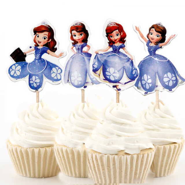 720pcs 4 Designs Sofia First Princess Cupcake Topper Picks Cartoon Theme Birthday Party Decorations Kids Evnent