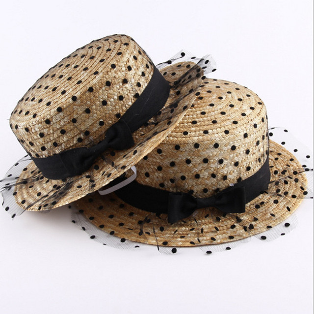 efc394e0d Summer Fashion Flat Top Sun Hats For Women Dot Bow Lace Yarn Shade Beach Hat  Tourism Lady Boater Cap Femme Panama Straw Sun Hat