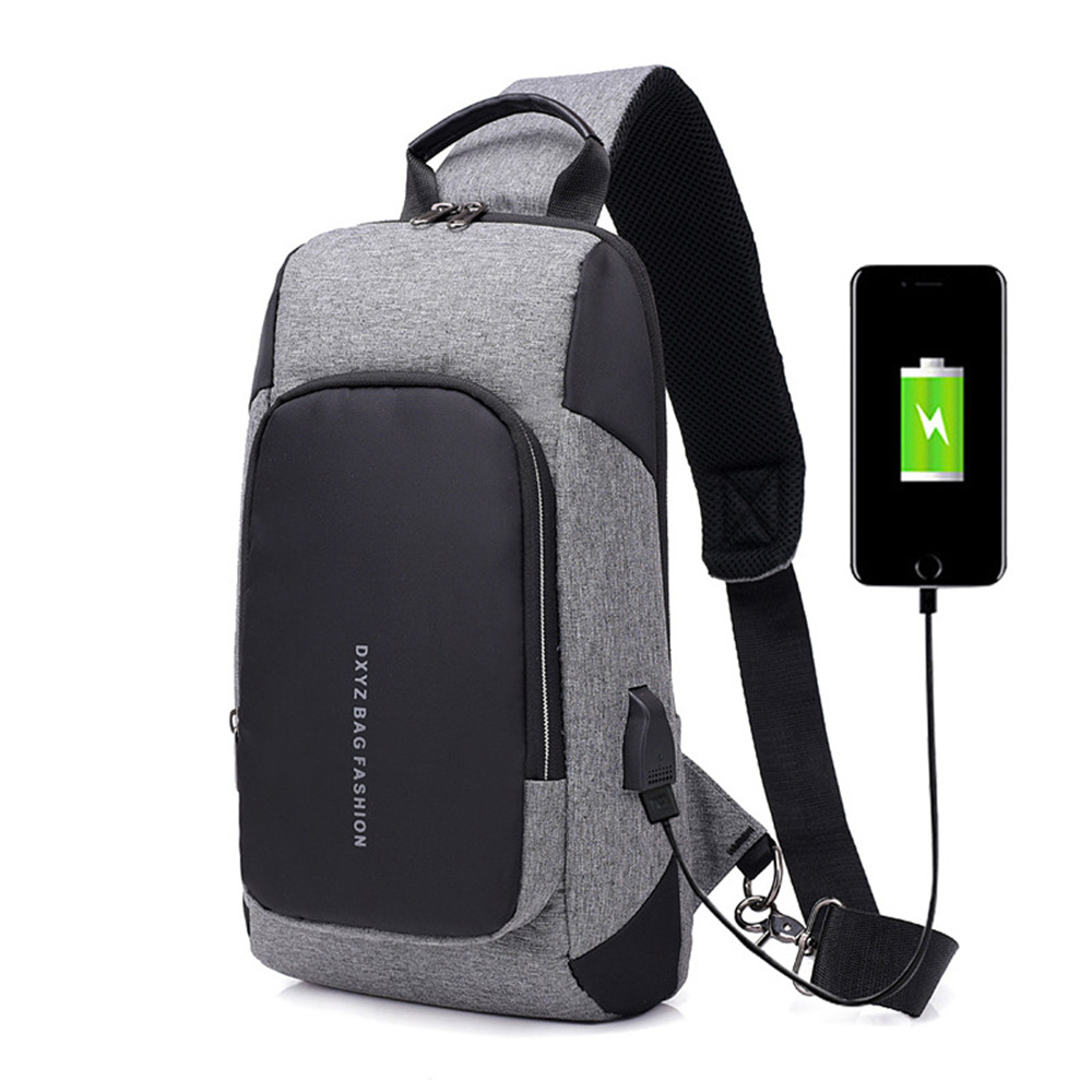 Waterproof Fashion Shoulder Bag Hot Sale Hip Hop Multifunction Messenger Pack Street Cool USB Charging Anti-theft Crossbody Pack