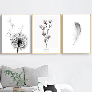 Image 2 - Feather Dandelion Magnolia Flower Wall Art Canvas Painting Nordic Posters And Prints Wall Pictures For Living Room Bedroom Decor