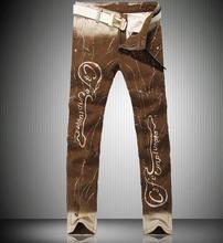 Бесплатная доставка! Коричневый зима мода печать узкие мужские джинсы марка haren брюки джинсовые брюки упругие прямые
