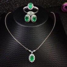 Коламбия натуральный комплект с изумрудами Кольцо Серьги Ожерелье Модный дизайн качество 925 серебро
