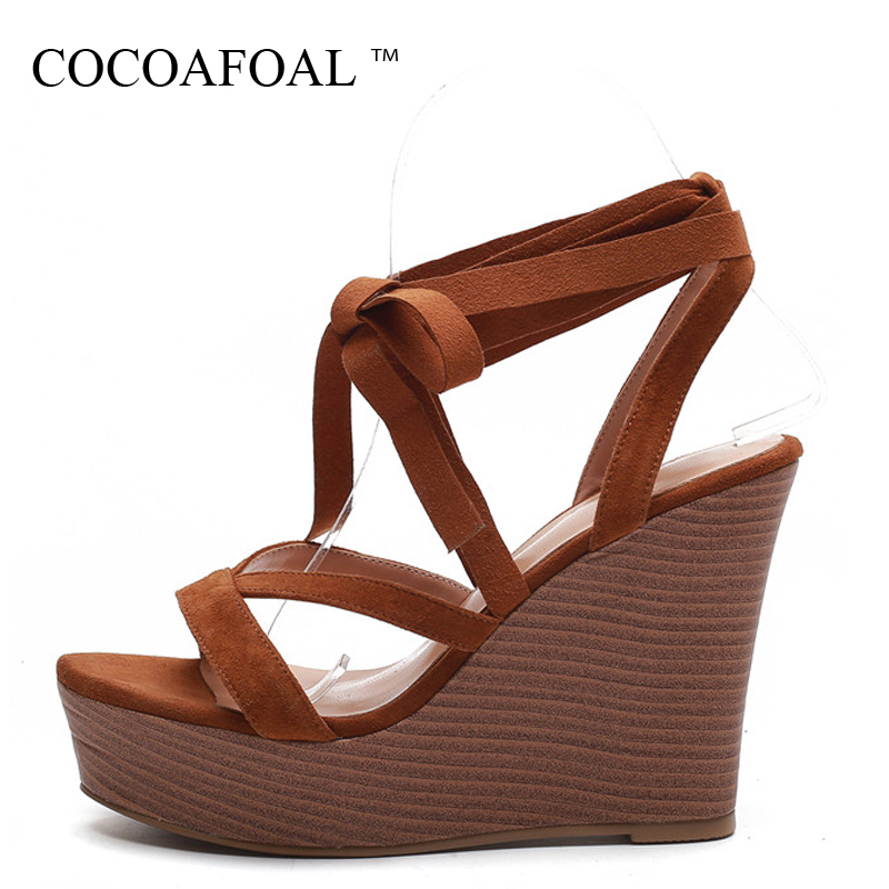 COCOAFOAL Women Wedge Sandals Cow Leather Lace Up Fashion Sexy Heel Height Shoes Black Brown Genuine Leather Gladiator Sandals espadrilles retro gladiator sandals women genuine cow leather flip flops sandals lace up shoes black brown zapatos mujer