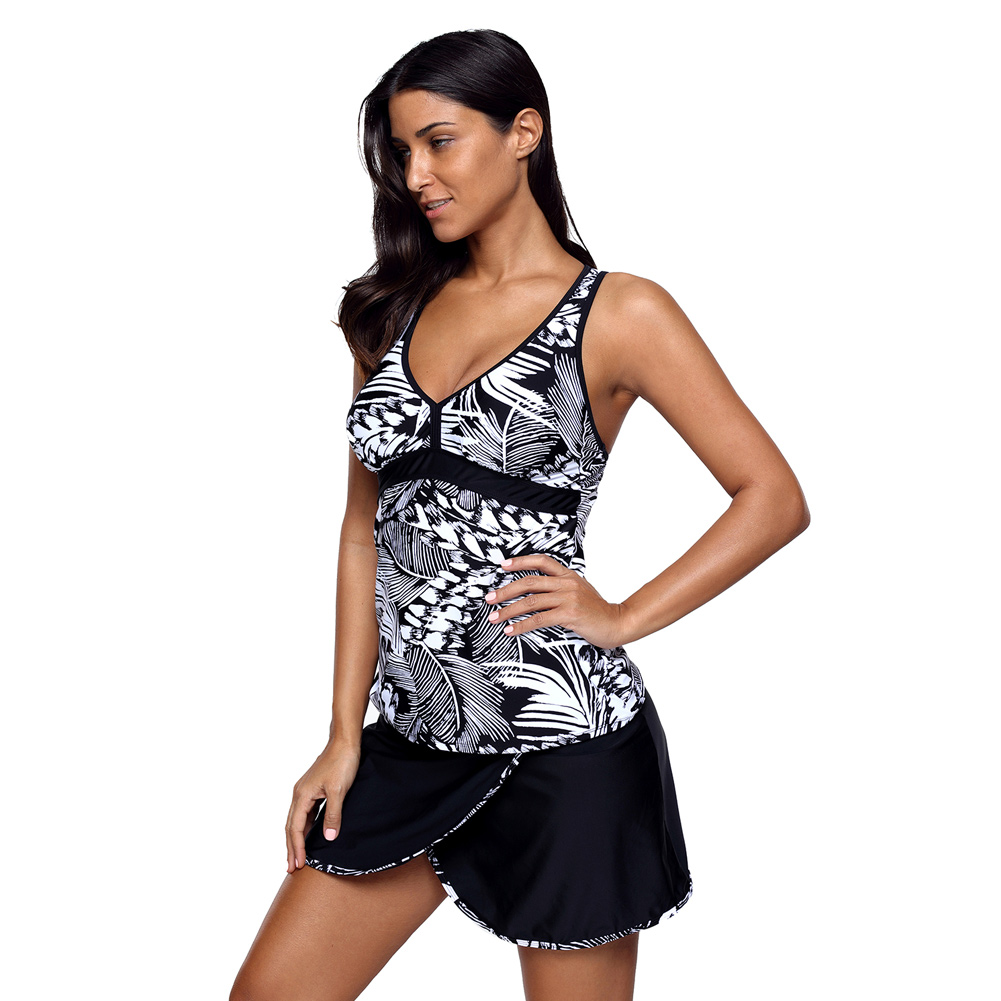 PLUSLAND TANKINI Women Printing Pattern V-neck Backless Wrapped Skirt Swimsuit Plus Size Two-Piece Separates Bathing Suits