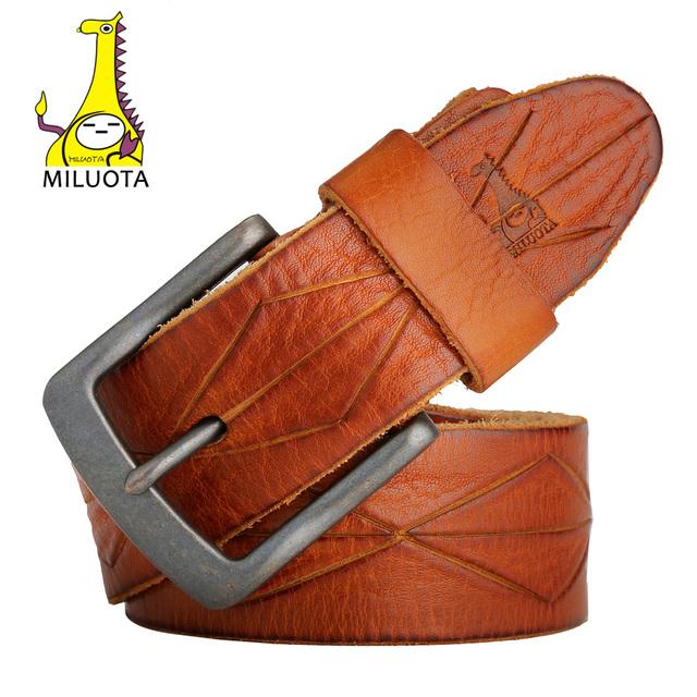 [Miluota] cinturones diseñador de alta calidad 100% cuero genuino cinturón de hombre correa de la vendimia marca mu056