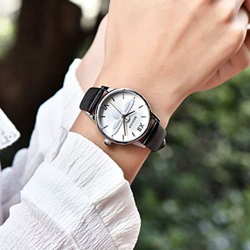 37mm Cute Bee ladies Watches Leather Strap Business Casual Wrist Watch For Women