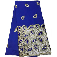 YG31 Direct Selling Hollow Out Design India George Lace With Sequins For Wedding Dress Royal Blue Satin Fabric For Party