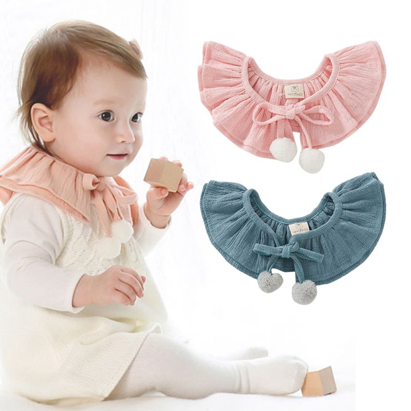 Cute Girls Hair Ball Double Bow Tie Dickie Toddler Baby Girl Kid Fake False Collar Baby Lace Up Cotton Detachable Tie Choker