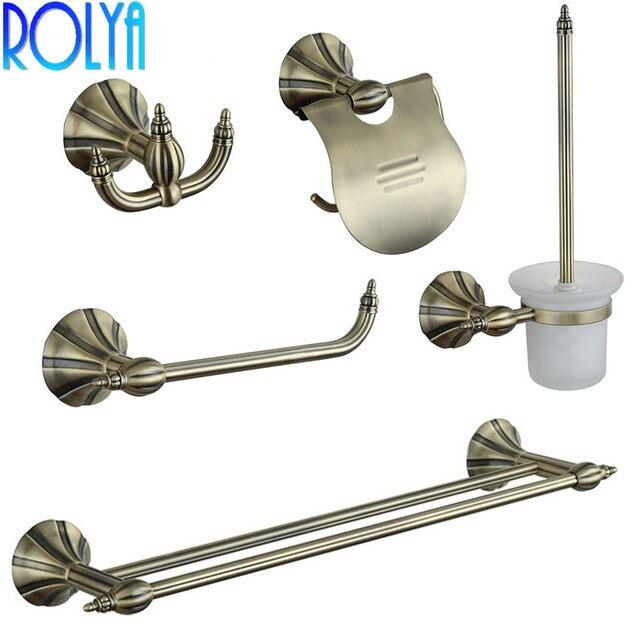 ROLYA Bronze Wall Mounted Bath Hardware Set Vintage Robe Hook Paper Holder Toilet Brusher Holder Towel Bar