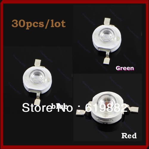 Nice Gifts 30PCS/LOT High Power 1W LED SMD Light Chip Energy Saving Lamp Beads Bulb For DIY Green/Blue/Red