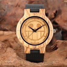 ייחודי חתיכה אחת עץ שעונים גברים חריטה גולגולת חיוג טהור במבוק עץ שעון Man קוורץ אנלוגי שחור אמיתי רצועת עור שעון