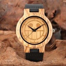 Uma Peça única de Madeira Relógios Homens Gravado Crânio Mostrador do Relógio De Madeira De Bambu Puro Homem De Quartzo Analógico Pulseira de Couro Genuíno Preto relógio