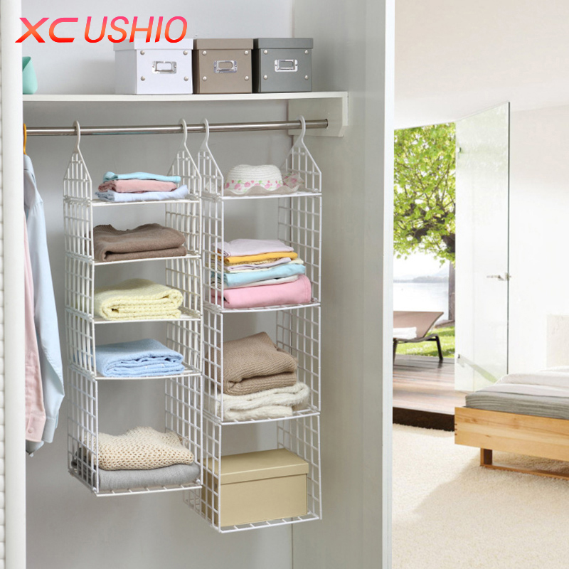 Folding Wardrobe Clothes Underwear Storage Rack Hooks Home Closet Plastic Shelves Hanging Holder