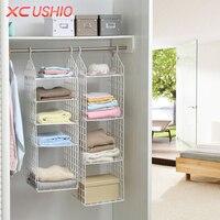 Folding Wardrobe Clothes Underwear Storage Rack Hooks Home Closet Plastic Storage Shelves Hanging Closet Shelves Storage Holder