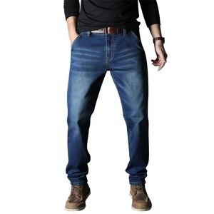 Image 3 - 2020 جديد الرجال جينز علامة تجارية فضفاض مستقيم مطاطا مكافحة سرقة سستة الدنيم السراويل الذكور حجم كبير 40 42 44 46 48