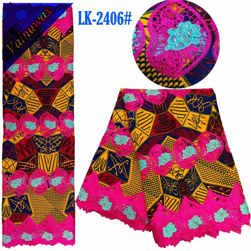 Classic style African Ankara colorful Wax Lace Embroidery 6Yards Nigerian Guipure Fabric African Wax Guipure With Rhinestones QDClassic style African Ankara colorful Wax Lace Embroidery 6Yards Nigerian Guipure Fabric African Wax Guipure With Rhinestones QD