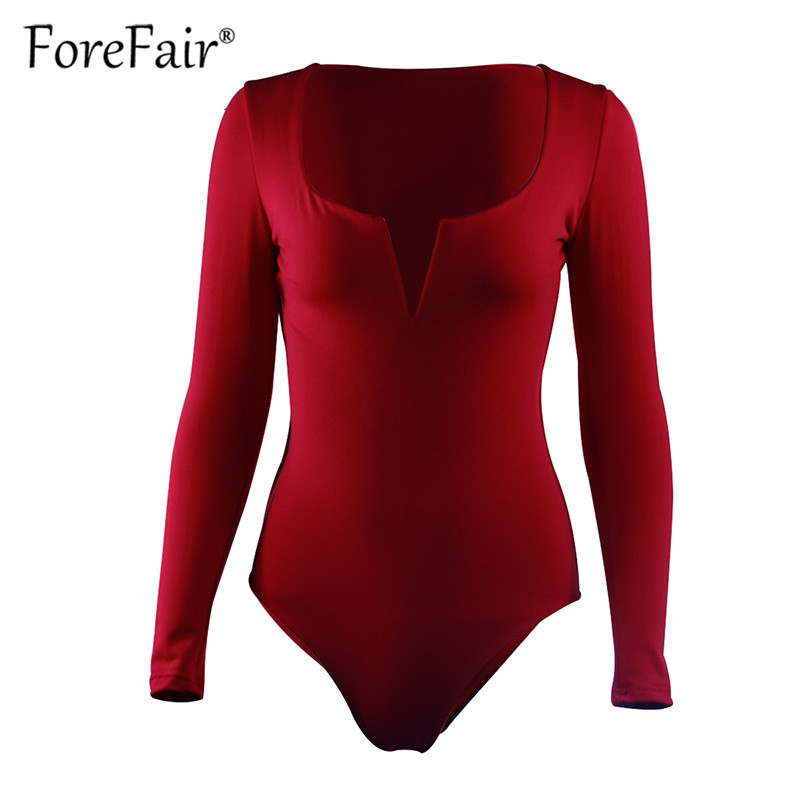 Forefair Sexy Bodysuit For Women Body Top 2019 Spring Autumn Black White Casual Body Woman Skinny V Neck Long Sleeve Bodysuits (8)