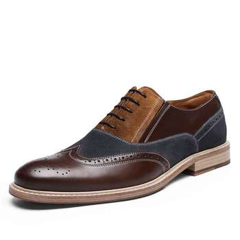 DESAI Top Quality Oxford Shoes For Men Genuine Leather Original Comfort Luxury Brand Spring Laces Up Summer Breathable