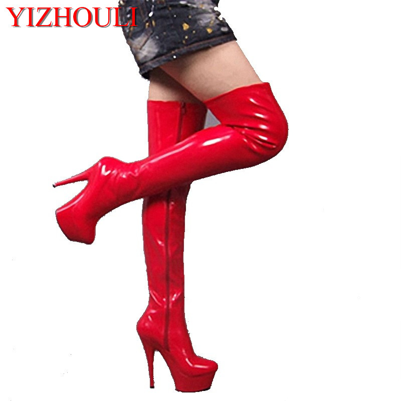side zipper full red over-the-knee 15 cm high heel boots pole dancing boots/lap-dancing knee-high boots sexy appeal female boots 20cm pole dancing sexy ultra high knee high boots with pure color sexy dancer high heeled lap dancing shoes