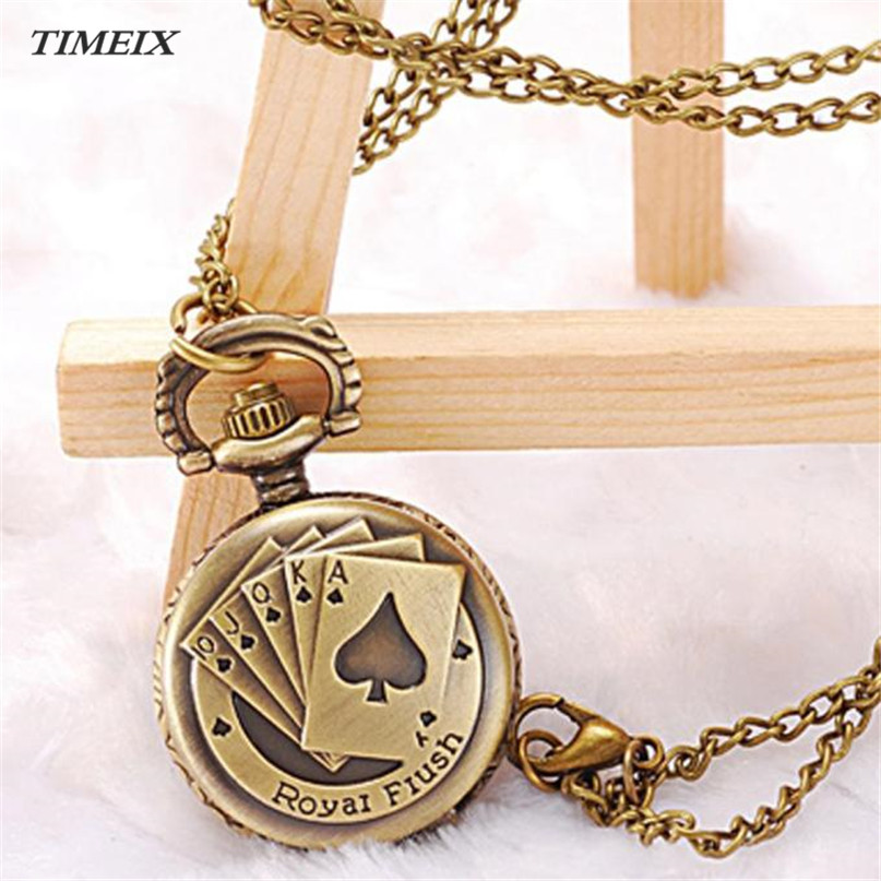 Pocket Watch 2017 Hot Poker Pattern Style Quartz Necklace Pendant Chain Clock Pocket Watches Female Free