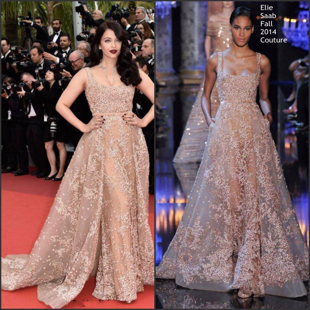Sexy Elie Saab Arabic Dubai Evening Dresses With Over