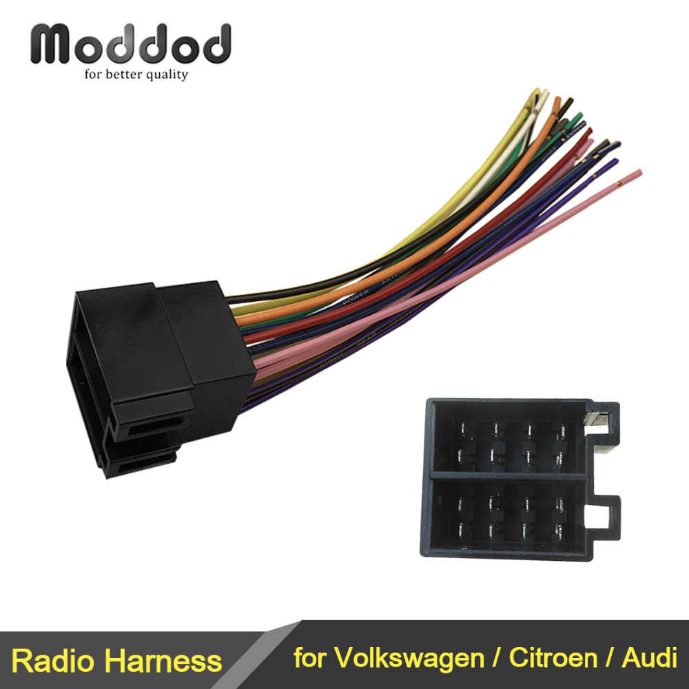 iso radio wire wiring harness adapter connector plug for volkswagen vw citroen audi adaptor male to female universal fuel pump wiring harness citroen wiring harness #7