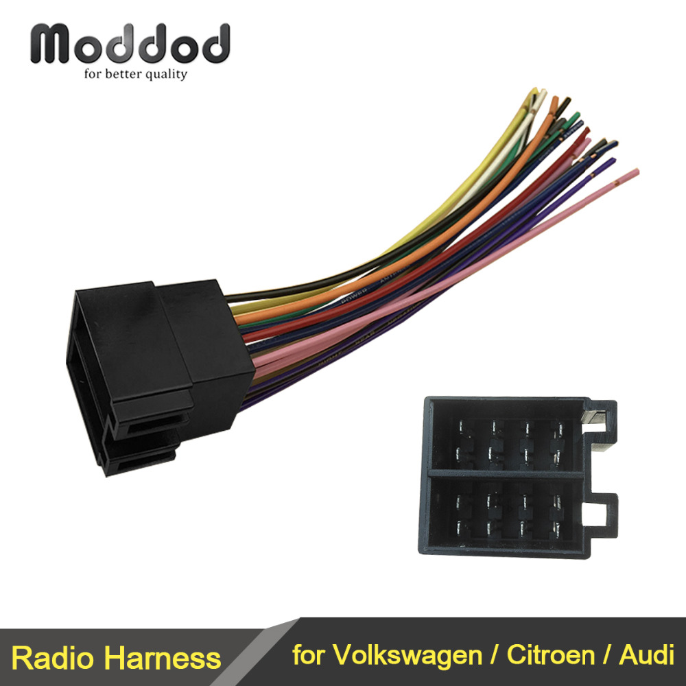 ISO Radio Wire Wiring Harness Adapter Connector Plug For Volkswagen VW Citroen Audi Adaptor Male To Female Universal