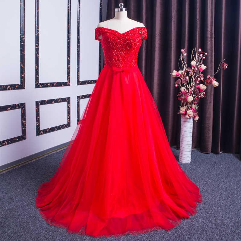 Xl9542 vestido דה festa אדום שמלה לנשף v-צוואר כבוי כתף חרוזים ארוך ערב המפלגה שמלת סיום vestido דה festa לונגו
